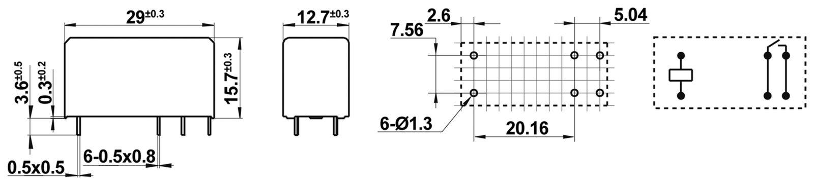 Printrelais HONGFA HF115F-I//012-1H3A