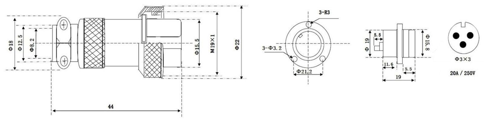 Hochstrom Einbaustecker-Set mit Abdeckkappe 3-polig Ø 19 mm