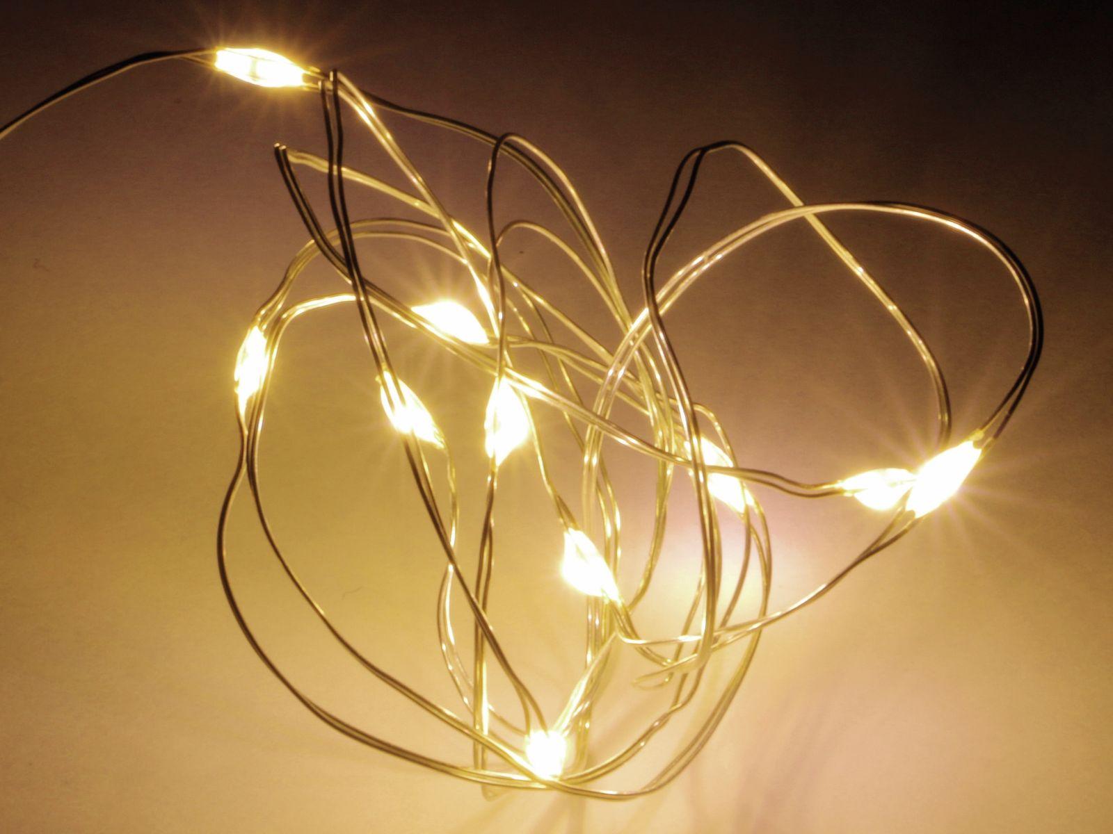 Led lichterkette silberdraht 10 leds warmwei - Silberdraht kaufen ...