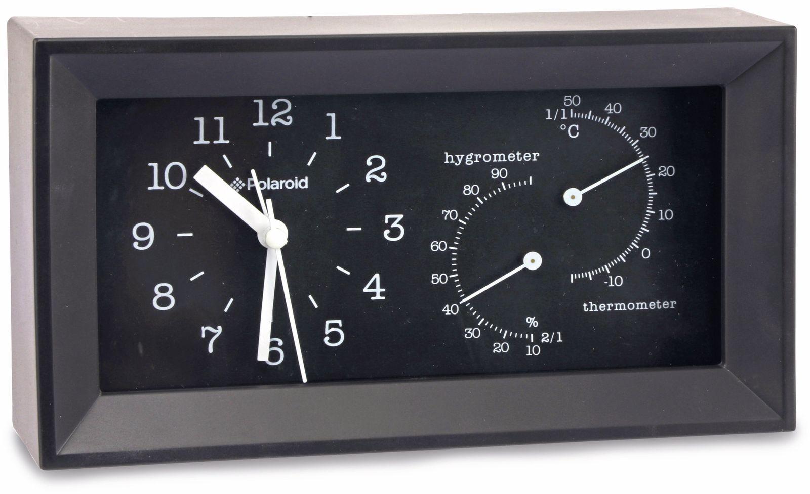 Uhr-/Wetterstation Polaroid, schwarz