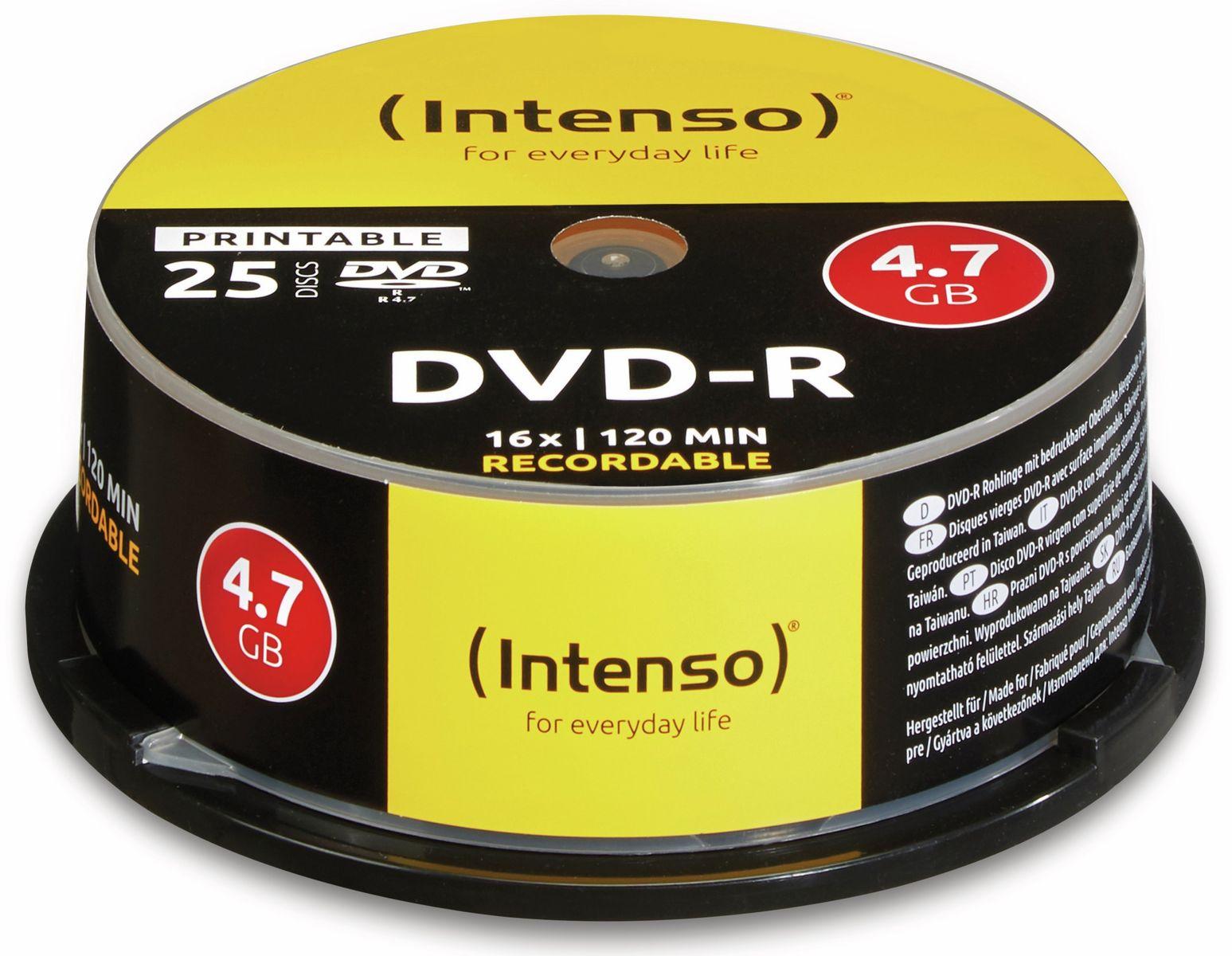 Intenso DVD-R, bedruckbar, INTENSO, 4,7GB, 16x, Spindel mit 25 Stück
