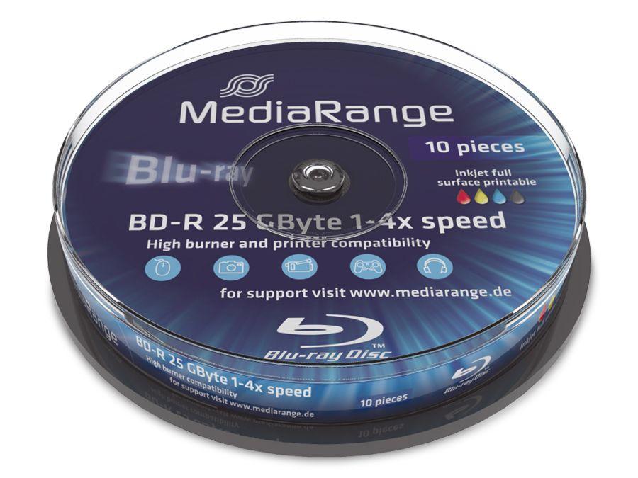 BD-R, bedruckbar, MEDIARANGE, 25GB, 4x, Spindel mit 10 Stück