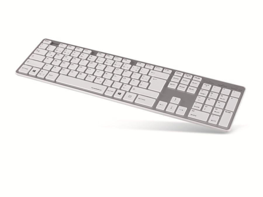 Computer-Tastatur HAMA Rossano 50453, USB, weiß/silber Computer ...