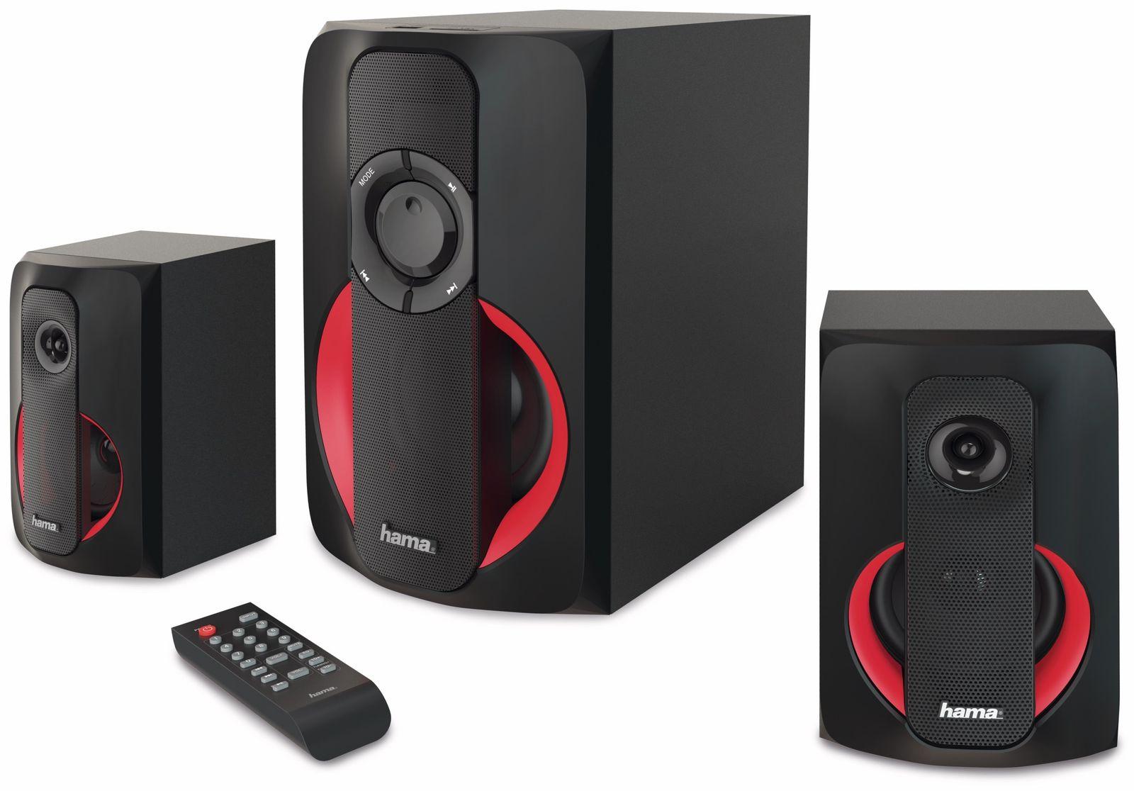 2 1 soundsystem hama pr 2180 80 w schwarz rot 2 1 soundsystem hama pr 2180 4047443341723 ebay. Black Bedroom Furniture Sets. Home Design Ideas