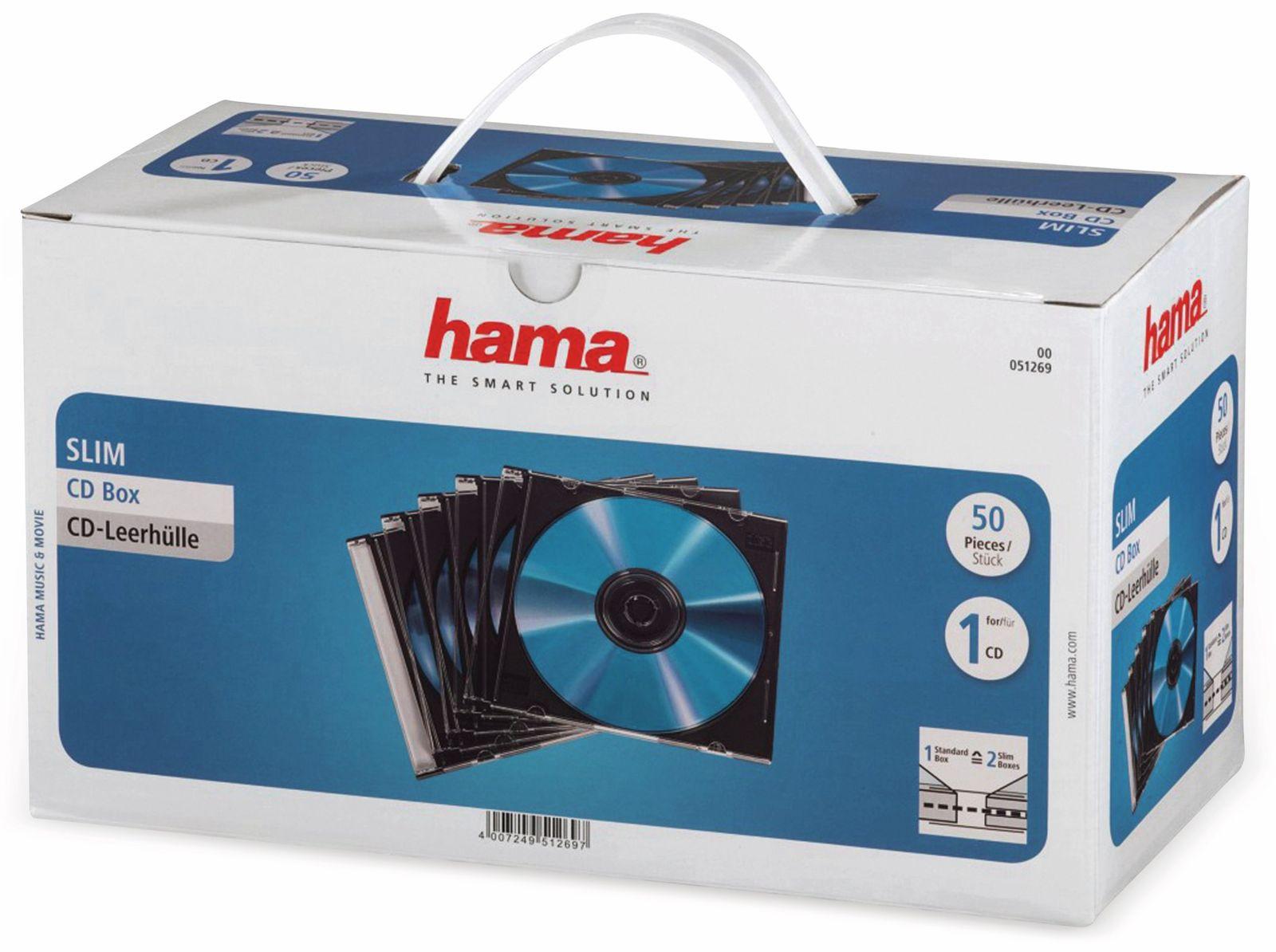 CD-Leerhüllen, Slim, 50 Stück Hama
