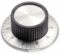 Vorschau: Aluminium-Drehknopf mit Skala 0...9, 38x15 mm, silber/schwarz
