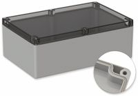 Vorschau: POLLIN, Polycarbonat Gehäuse, 240,3 x 160,3 x 90 mm, IP65, Lichtgrau, Glasklarer Deckel