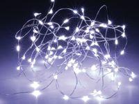 Vorschau: LED-Lichterkette, Silberdraht, 40 LEDs, kaltweiß, Batteriebetrieb