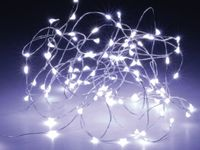 Vorschau: LED-Lichterkette, Silberdraht, 100 LEDs, kaltweiß, Batteriebetrieb