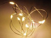 Vorschau: LED-Lichterkette, Silberdraht, 10 LEDs, warmweiß, Batteriebetrieb