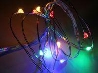 Vorschau: LED-Party Lichterkette, Silberdraht, 10 LEDs, bunt, Batteriebetrieb
