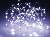 Vorschau: LED-Lichterkette, Silberdraht, 100 LEDs, kaltweiß, Batteriebetrieb, Timer