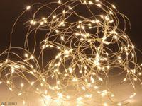 Vorschau: LED-Lichterkette, Silberdraht, 100 LEDs, warmweiß, Batteriebetrieb, Timer