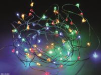 Vorschau: LED-Party Lichterkette, Silberdraht, 40 LEDs, bunt, Batteriebetrieb, Timer