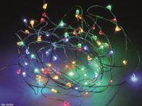Vorschau: LED-Party Lichterkette, Silberdraht, 100 LEDs, bunt, Batteriebetrieb, Timer