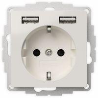 Vorschau: Schutzkontakt-Steckdose 2USB inCharge Pro, 2x USB, 2,4 A, reinweiß glänzend