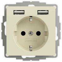 Vorschau: Schutzkontakt-Steckdose 2USB inCharge Pro, 2x USB, 2,4 A, cremeweiß glänzen