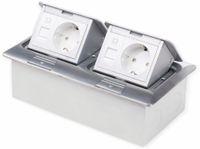 Vorschau: Boden-Einbausteckdose LEDmaxx, 2x Steckdose, 2x RJ45, Alu, eckig