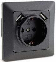 Vorschau: Schutzkontakt-Steckdose MILOS 23050, 2x USB Buchse, 16A/250V~, anthrazit
