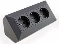 Vorschau: Steckdosenblock CHILITEC 23056, 3-fach, 16A/250V~, anthrazit