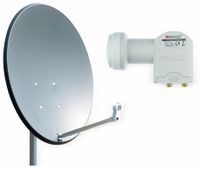 Vorschau: Set SAT-Antenne RED OPTICUM QA60 anthrazit, mit Twin-LNB RED OPTICUM LTP-04H