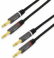 Vorschau: Lautsprecherkabel LOGILINK CA1210, 3 m, 2x2 Bananenstecker, Nylon, schwarz