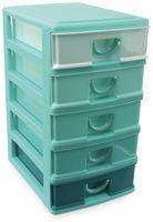 Vorschau: Box mit 5 Laden, 130x180x245 mm, türkis