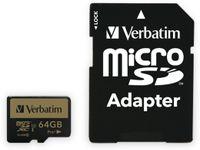 Vorschau: MicroSDXC Card VERBATIM Pro, 64 GB, Class 10, inkl. Adapter