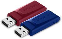 Vorschau: USB 2.0 Stick VERBATIM Store N Go Slider, 32GB, rot/blau, 2er Pack
