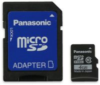 Vorschau: microSDHC Speicherkarte, 4 GB, Panasonic, Class 10, mit Adapter
