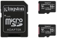 Vorschau: MicroSD-Card KINGSTON Canvas Select, Plus, 64GB, 2er Pack