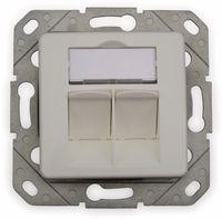 Vorschau: CAT.6a Datendose KOMOS KDD 500, EA 8/8 (8), Komplett mit Zentralscheibe, reinweiß