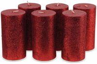 Vorschau: 6er-Set, Stumpenkerzen, WIEDEMANN Glitter, rot, 68x130 mm