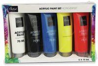Vorschau: Acrylfarben, 5x 75 ml