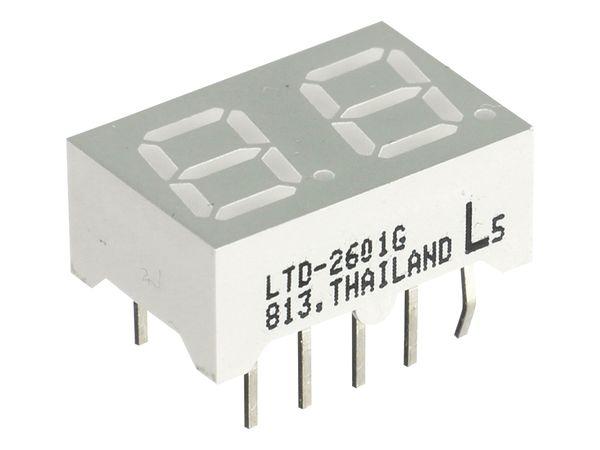 LED-Anzeige LITEON LTD-2601G, 2 Digit, grün