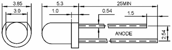 LED, HUIYUAN, 3 mm, rot, wasserklar, 3700 mcd - Produktbild 2
