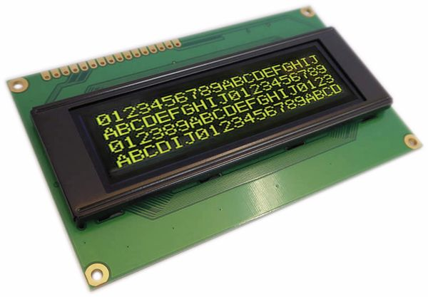Display OLED, 4x20, 98x60x6,3 mm, gelb