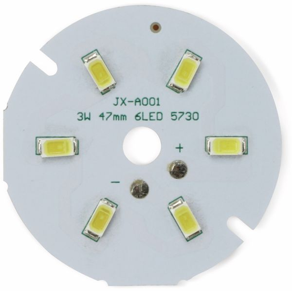LED Modul mit 6 weißen LED, Ø 47 mm auf Aluträger, 3 W