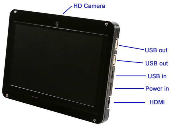 "LC-Display 7"" (17,8 cm), mit kap. Touchscreen, HDMI, Kamera, Acrylgehäuse - Produktbild 4"