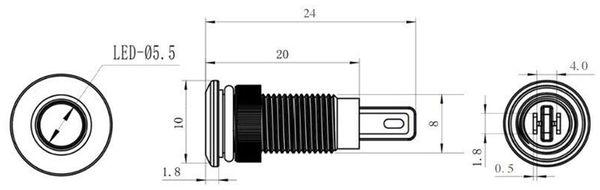 LED-Kontrollleuchte, Signalleuchte 12 V, Rot, Ø8 mm, Messing, Tiefe 23 mm - Produktbild 2