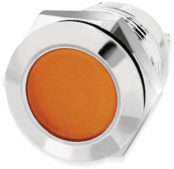 LED-Kontrollleuchte, Signalleuchte 12V, Orange, Ø12 mm, Messing, Tiefe 18 mm