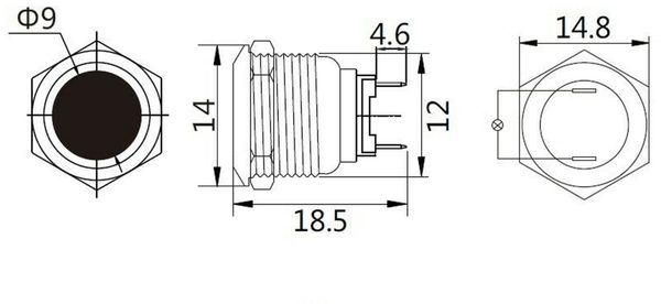 LED-Kontrollleuchte, Signalleuchte 12V, Orange, Ø12 mm, Messing, Tiefe 18 mm - Produktbild 2