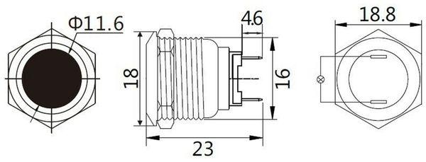 LED-Kontrollleuchte, Signalleuchte 12 V, Rot, Ø16 mm, Messing, Tiefe 22 mm - Produktbild 2