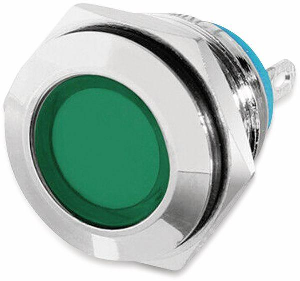 LED-Kontrollleuchte, Signalleuchte 12 V, Grün, Ø16 mm, Messing, Tiefe 22 mm