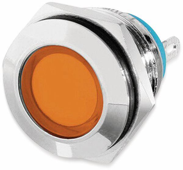 LED-Kontrollleuchte, 12 V, Orange, Ø16 mm, Messing, Tiefe 22 mm