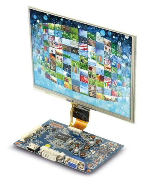 "LCD-SET LS-8T, 8"", 1024x768, Touch, HDMI/DVI/VGA/CVBS, 12V-, B-Ware"