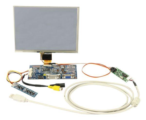 "LCD-SET LS-8T, 8"", 1024x768, Touch, HDMI/DVI/VGA/CVBS, 12V-, B-Ware - Produktbild 2"