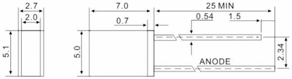HUIYUAN LED, rechteckig, 2x5 mm, diffus, rot, 750 mcd, 20 mA, 120° - Produktbild 2
