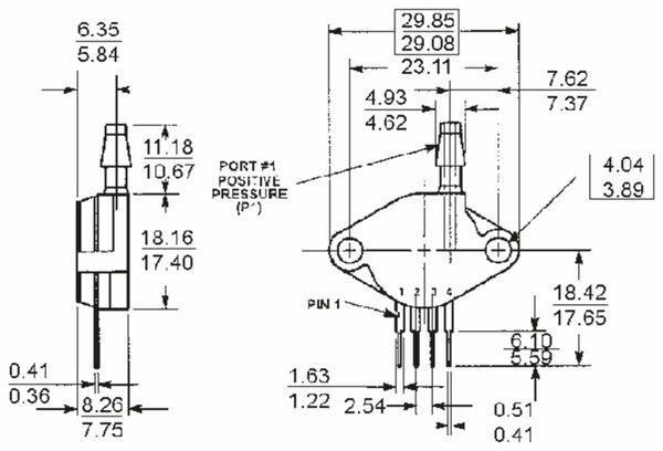 Drucksensor MPX53GP, FREESCALE, 0 ... 50 kPa, 1,2 mV/kPa - Produktbild 2