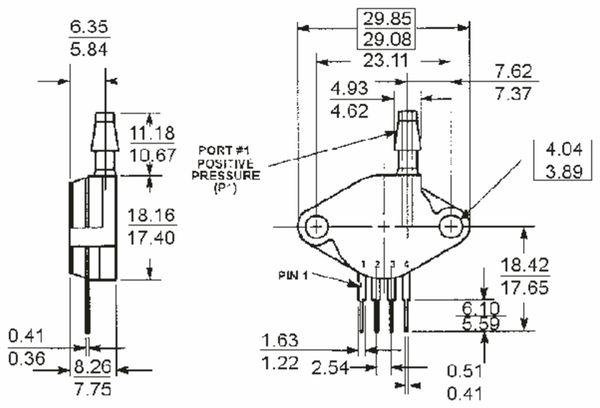Drucksensor MP2100AP, FREESCALE, 0 ... 100 kPa, 0,4 mV/kPa - Produktbild 2